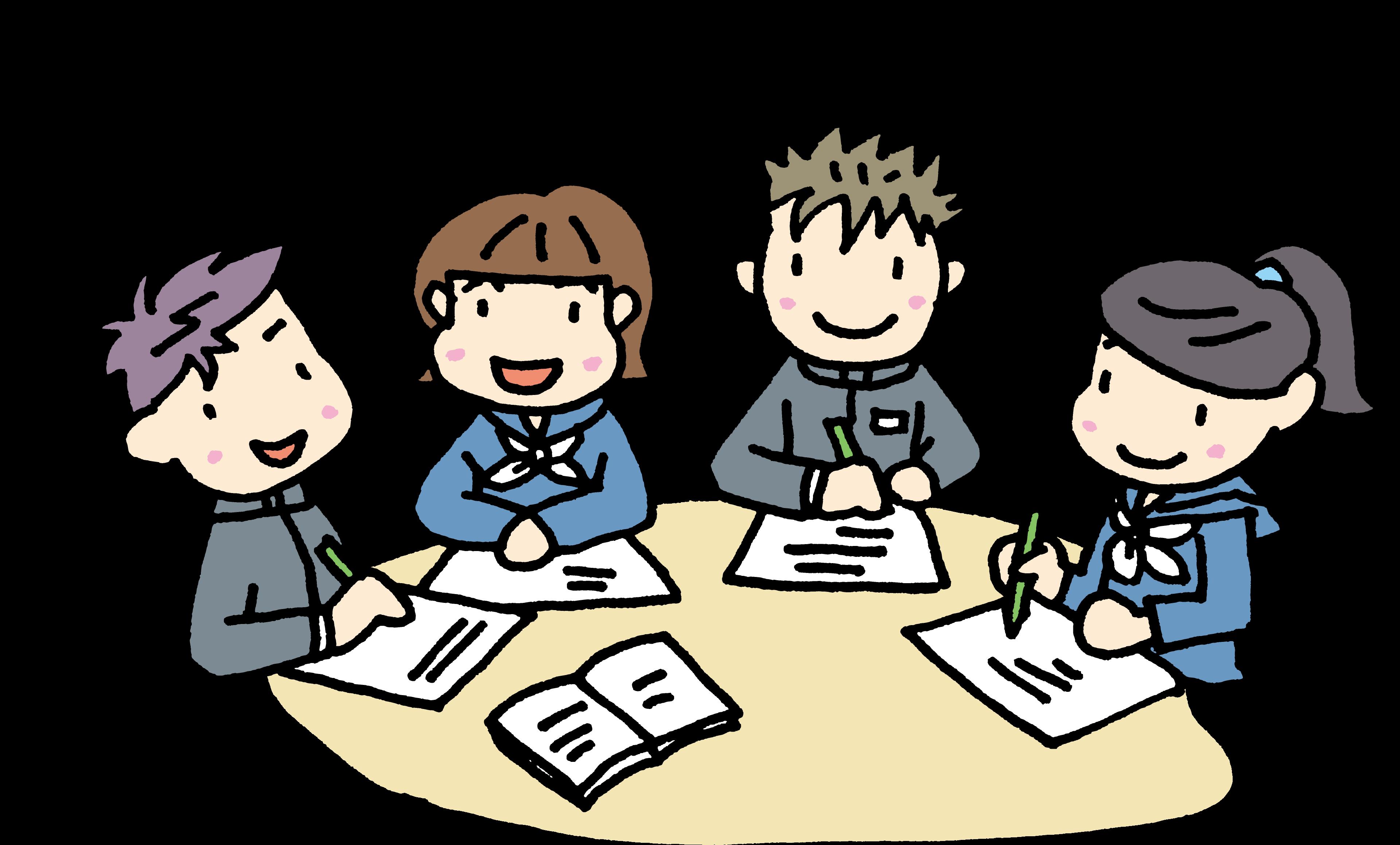 仲間と勉強する生徒たち
