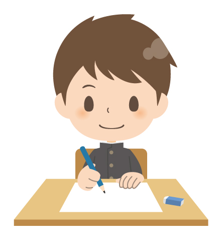 勉強する中学生男子